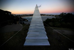 "A sculpture by artist David McCracken titled 'diminish and ascend' can be seen as part of the ""Sculpture by the Sea"" exhibition at Sydney's Bondi Beach"